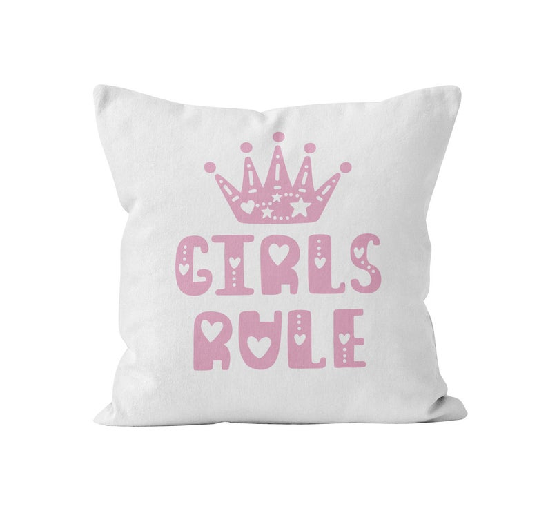 Throw Pillow Cover, Girls Rule, Pink, Nursery Pillow, [Ziya Blue]