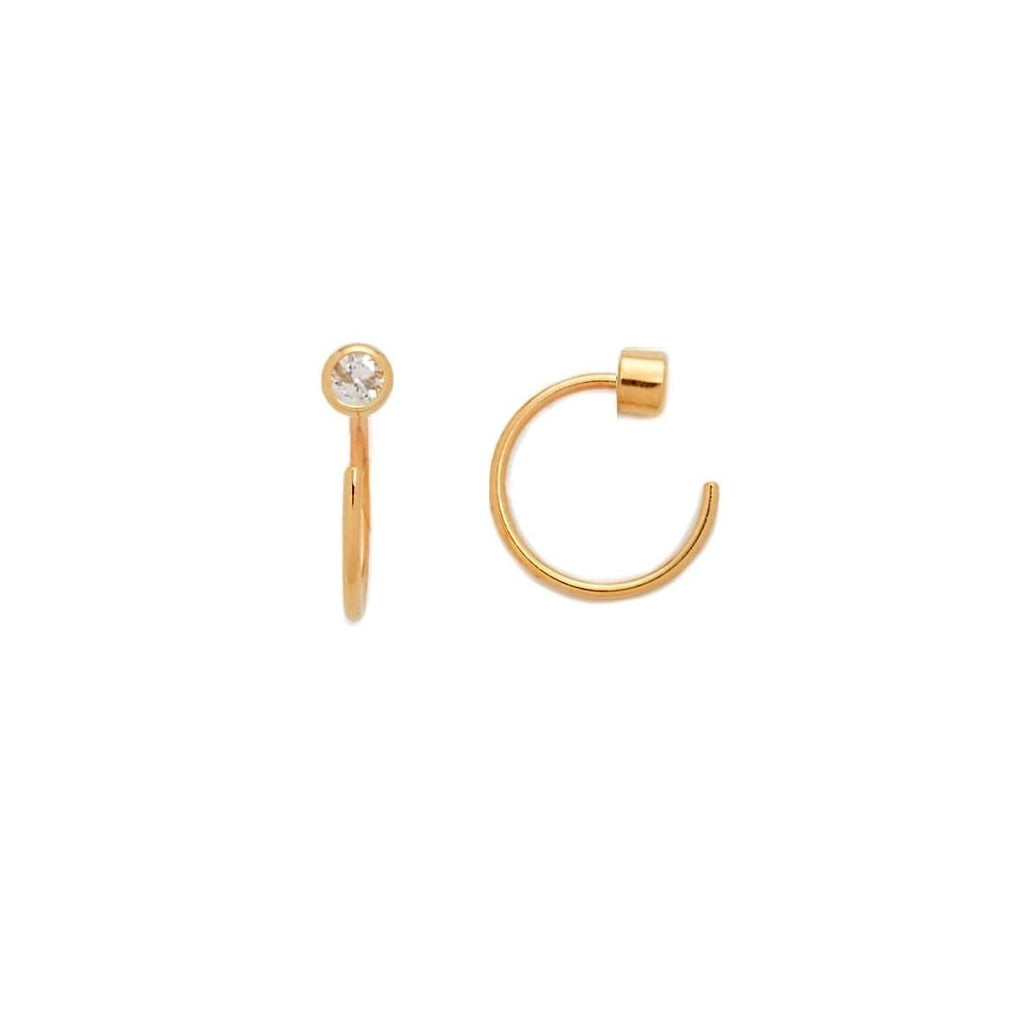 Mini Bezel Huggies Earrings - Gold, earrings, [Ziya Blue]