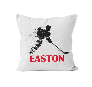 Throw Pillow Cover, Personalized, Hockey Player, MADE TO ORDER, Pillow, [Ziya Blue]