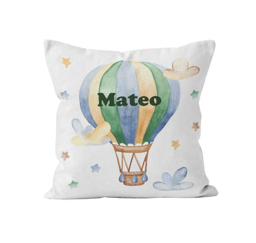 Throw Pillow Cover, Personalized, Hot Air Balloon, MADE TO ORDER, Pillow, [Ziya Blue]