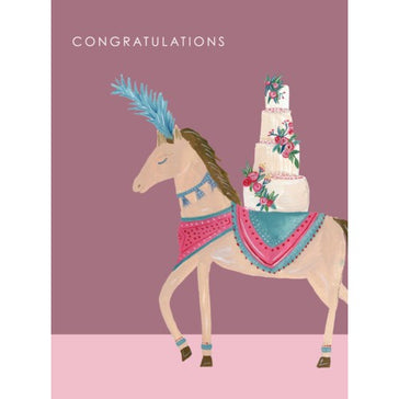 Card: Horse With Wedding Cake, Card, [Ziya Blue]