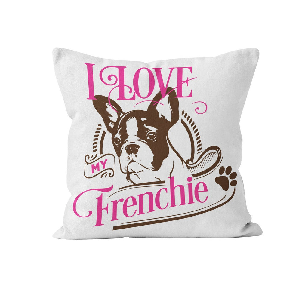 Throw Pillow Cover, I Love My Frenchie, MADE TO ORDER, Pillow, [Ziya Blue]