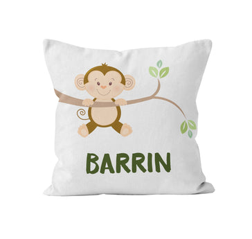 Throw Pillow Cover, Personalized, Little Monkey, MADE TO ORDER - Ziya Blue
