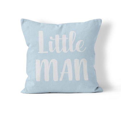 Nursery Throw Pillow Cover, Little Man, MADE TO ORDER, Pillow, [Ziya Blue]