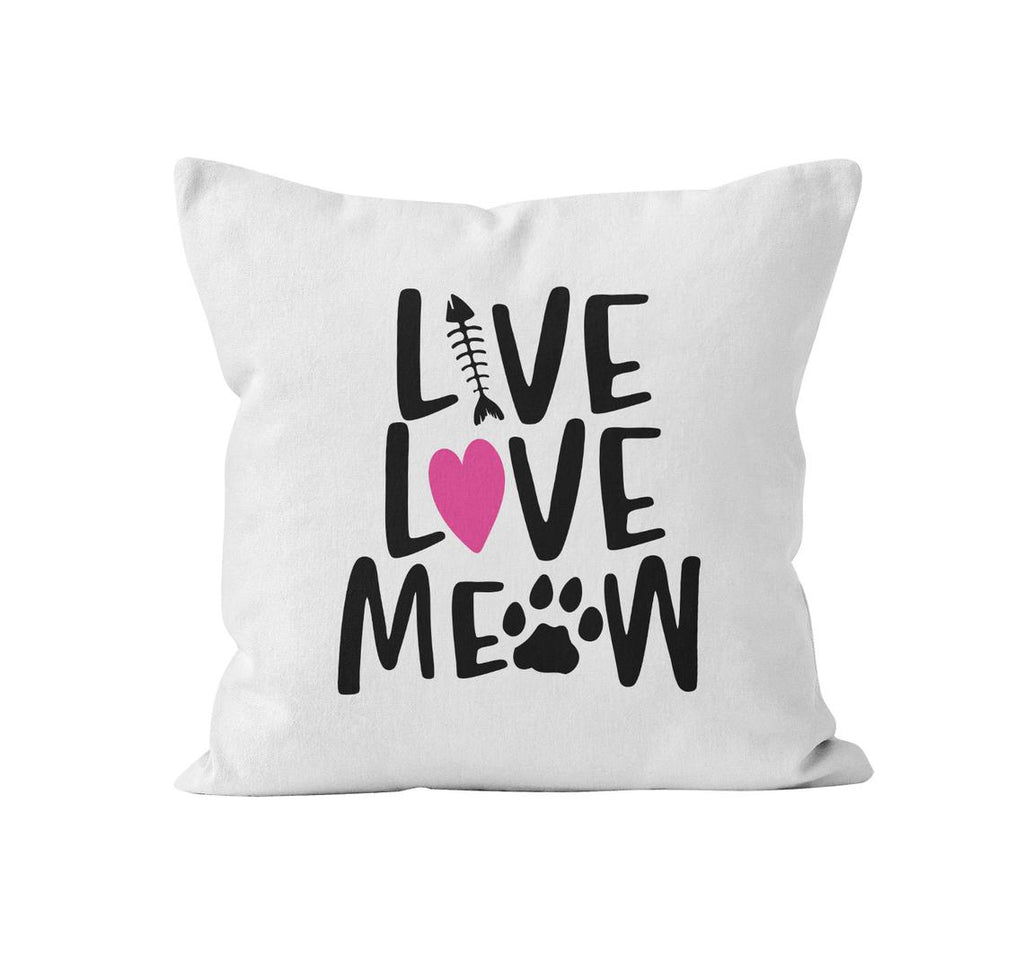 Throw Pillow Cover, Live Love Woof Meow, MADE TO ORDER, Pillow, [Ziya Blue]