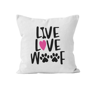 Throw Pillow Cover, Live Love Woof, MADE TO ORDER, Pillow, [Ziya Blue]