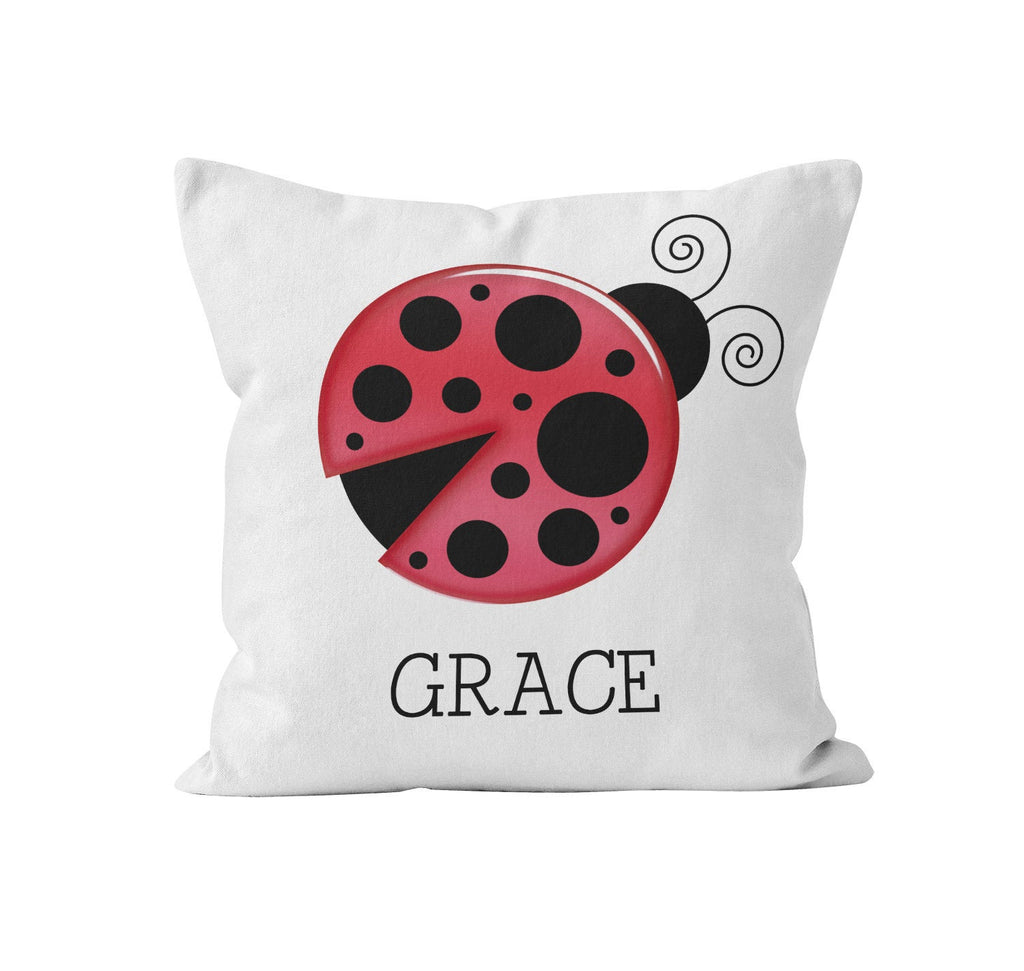 Throw Pillow Cover, Personalized, Lucky Ladybug, Nursery Pillow, [Ziya Blue]