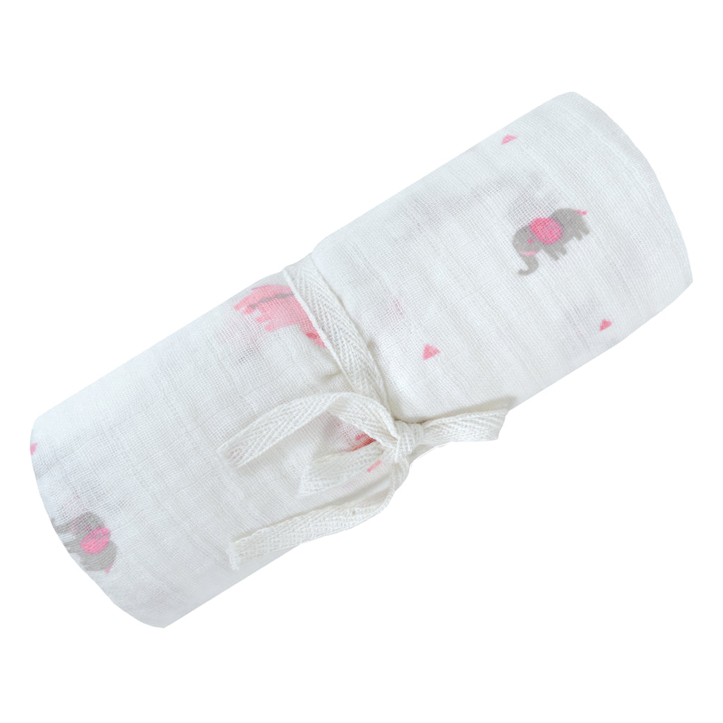 Cotton muslin swaddle - Pink safari, Swaddle, [Ziya Blue]