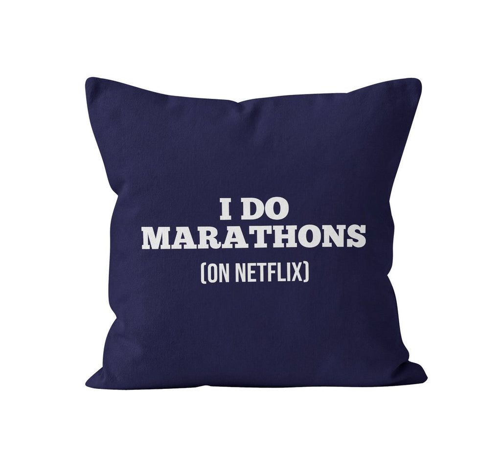 Throw Pillow Cover, I Do Marathons, On Netflix, Custom Color, MADE TO ORDER, Pillow, [Ziya Blue]