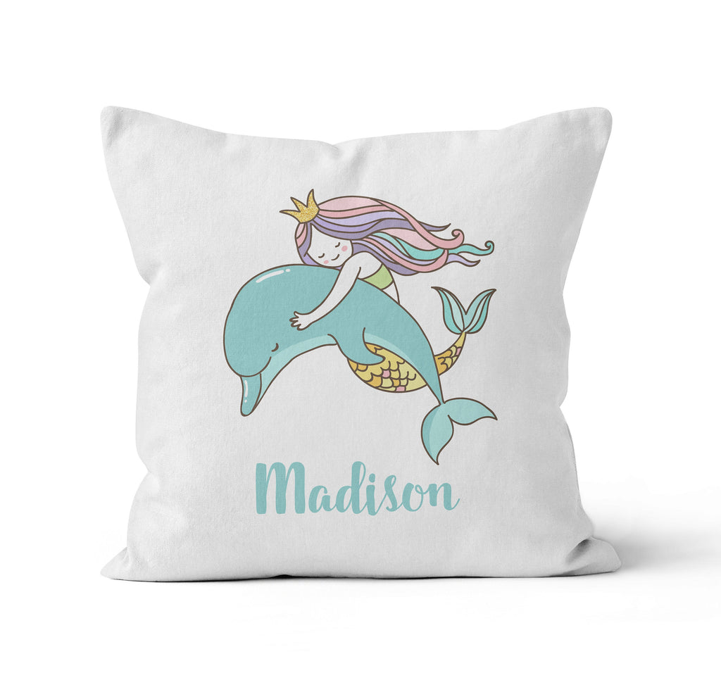 Throw Pillow Cover, Personalized, Mermaid with Dolphin, Nursery Pillow, [Ziya Blue]