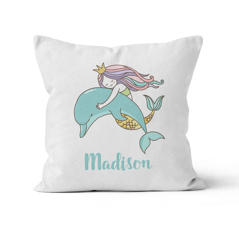 Throw Pillow Cover, Personalized, Mermaid with Dolphin