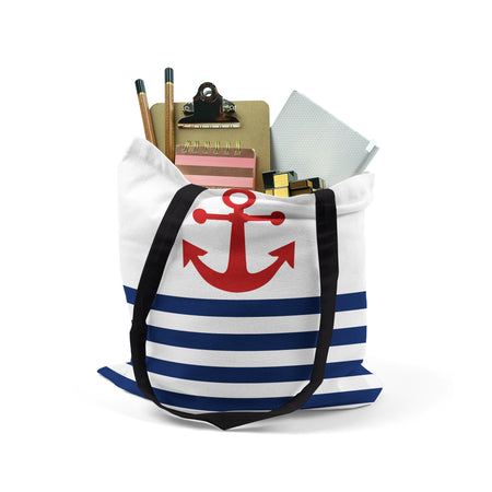 Tote,  Nautical Stripes Red Anchor by Ziya Blue