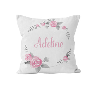 Throw Pillow Cover, Personalized, Grey and Pink Wreath, Nursery Pillow, [Ziya Blue]