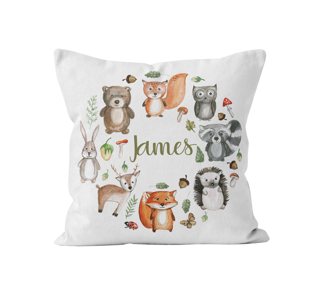 Throw Pillow Cover, Personalized, Woodland Animals, MADE TO ORDER, Nursery Pillow, [Ziya Blue]