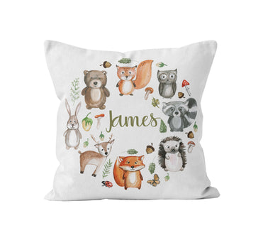 Throw Pillow Cover, Personalized, Woodland Animals
