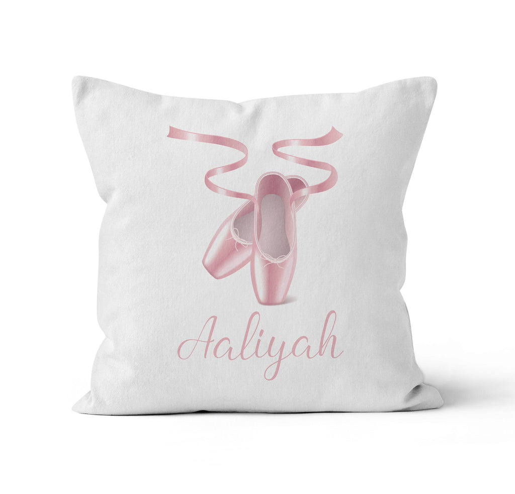 Throw Pillow Cover, Personalized, Pink Ballet Slippers, Nursery Pillow, [Ziya Blue]