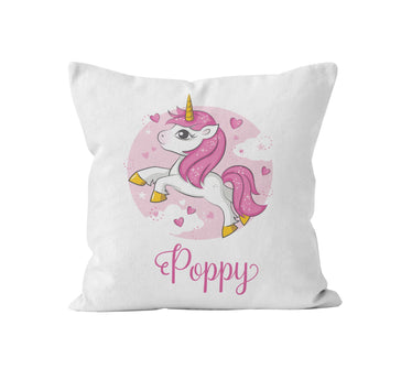 Throw Pillow Cover, Personalized, Pink Unicorn, Nursery Pillow, [Ziya Blue]