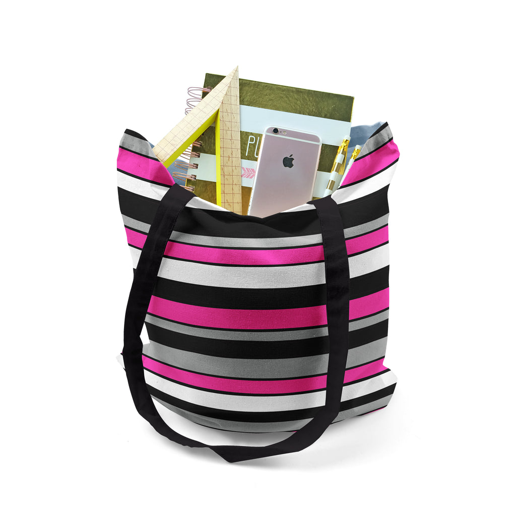 Tote, Pink White Black and Grey Striped Bag by Ziya Blue
