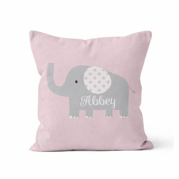 Throw Pillow Cover, Personalized, Elephant, Pink & Grey, MADE TO ORDER, Nursery Pillow, [Ziya Blue]