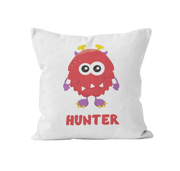 Throw Pillow Cover, Personalized, Little Red Monster, MADE TO ORDER - Ziya Blue