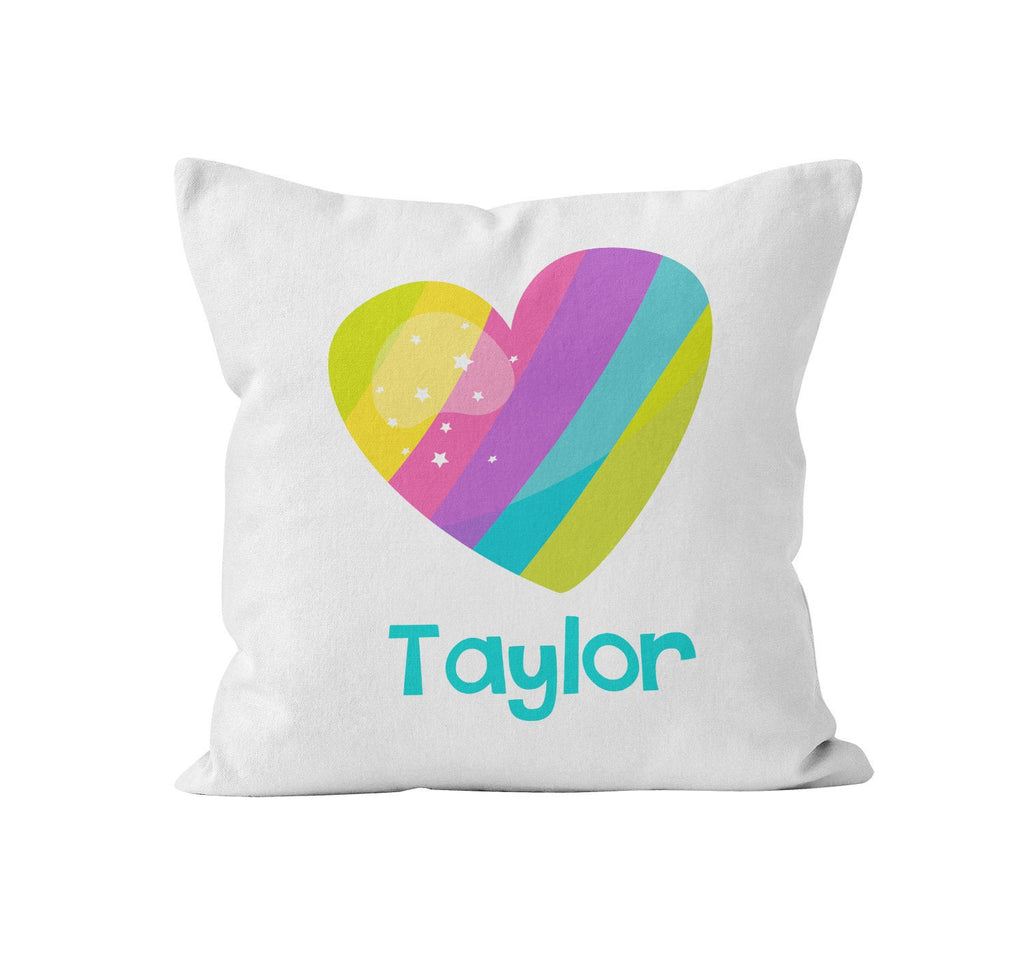 Throw Pillow Cover, Personalized, Rainbow Heart, Nursery Pillow, [Ziya Blue]