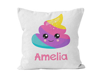 Throw Pillow Cover, Personalized, Rainbow Poop, Nursery Pillow, [Ziya Blue]