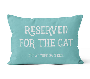 Lumbar Throw Pillow Cover, Reserved For The Cat, Custom Color, MADE TO ORDER, Pillow, [Ziya Blue]