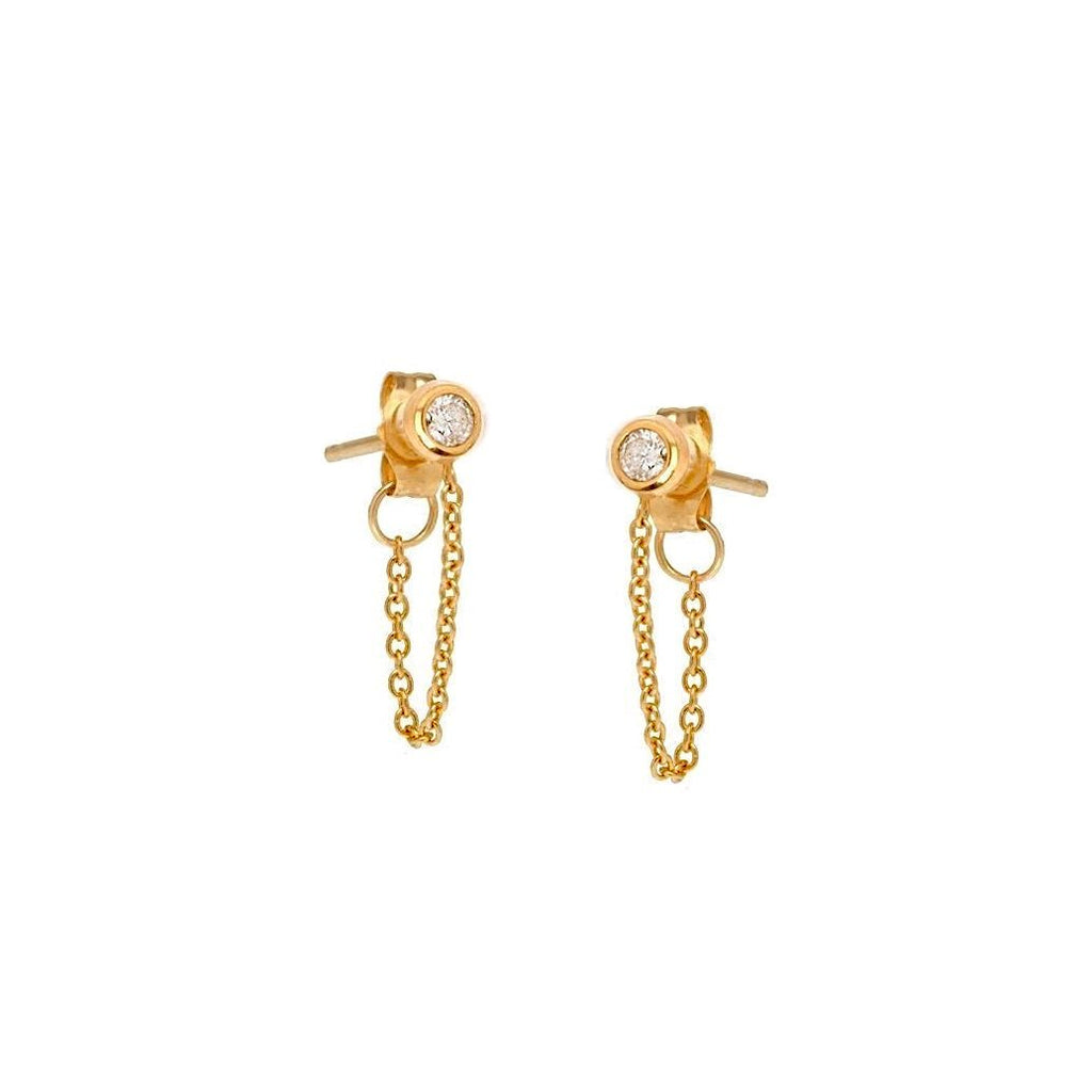 Sparkling Chain Stud Earring - Gold, earrings, [Ziya Blue]