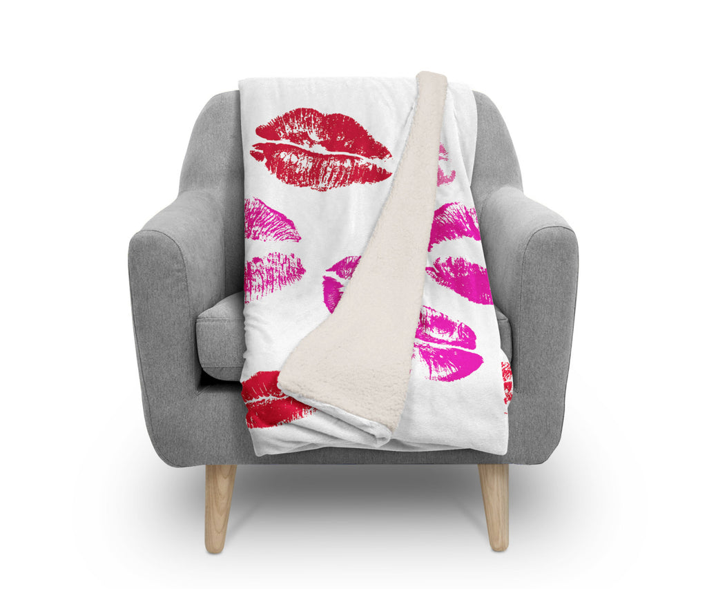 Sherpa Fleece Throw, Big Lips by Ziya Blue