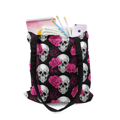 Tote, Halloween Skulls and Pink Roses Bag by Ziya Blue