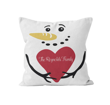 Throw Pillow Cover, Personalized, Snowman w/ Family Name, MADE TO ORDER, Pillow, [Ziya Blue]