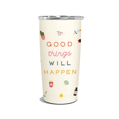 Insulated Stainless Steel Tumbler - Good Things Will Happen, Tumbler, [Ziya Blue]