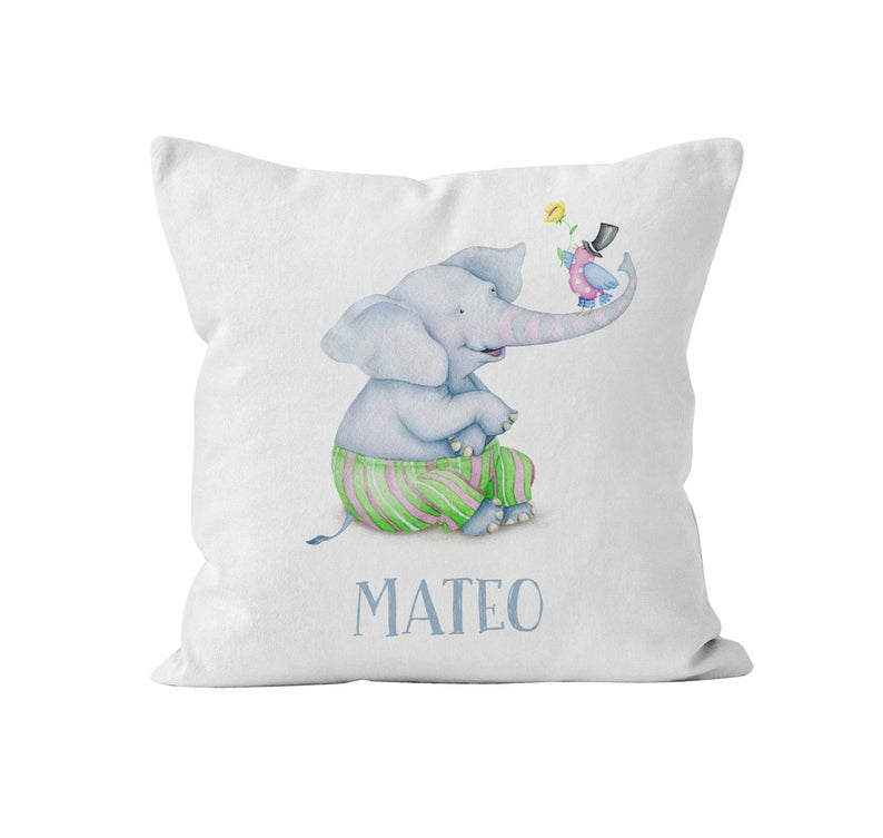 Throw Pillow Cover, Personalized, Watercolour Elephant w/birdie, MADE TO ORDER, Pillow, [Ziya Blue]