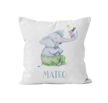 elephant with birdie personalized nursery throw pillow