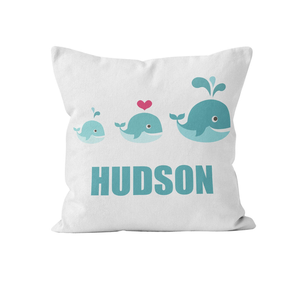 Throw Pillow Cover, Personalized, Whale Family, MADE TO ORDER, Pillow, [Ziya Blue]