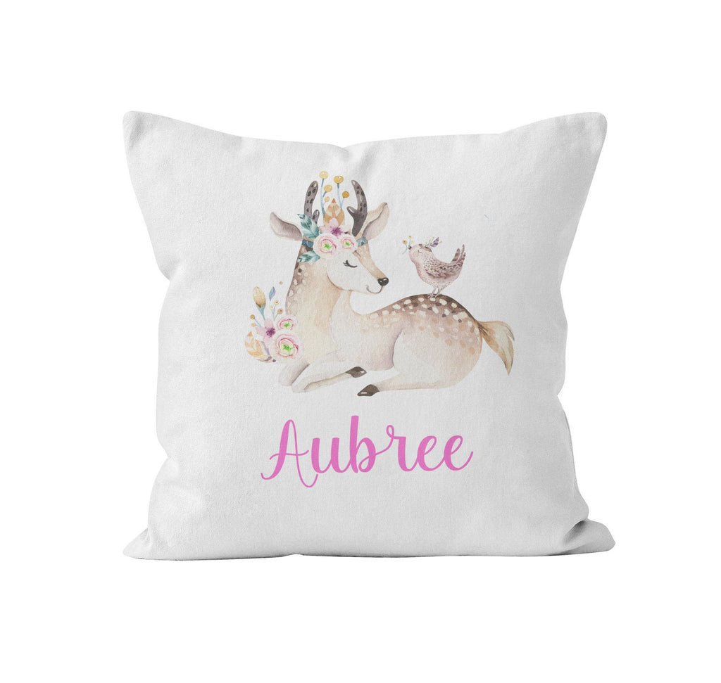 Throw Pillow Cover, Personalized, Woodland Fawn, MADE TO ORDER, Nursery Pillow, [Ziya Blue]