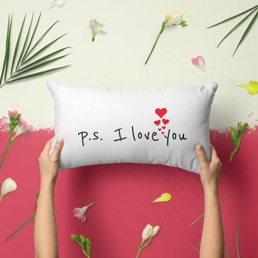 P.S. I Love You - 14x20 Velveteen Throw Pillow