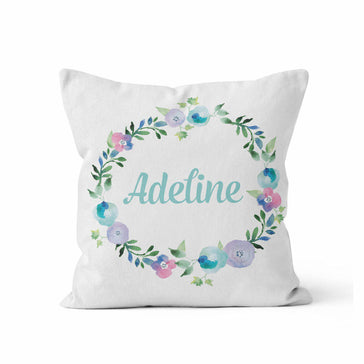 Throw Pillow Cover, Personalized,  Floral Wreath: Blue & Purple, MADE TO ORDER - Ziya Blue