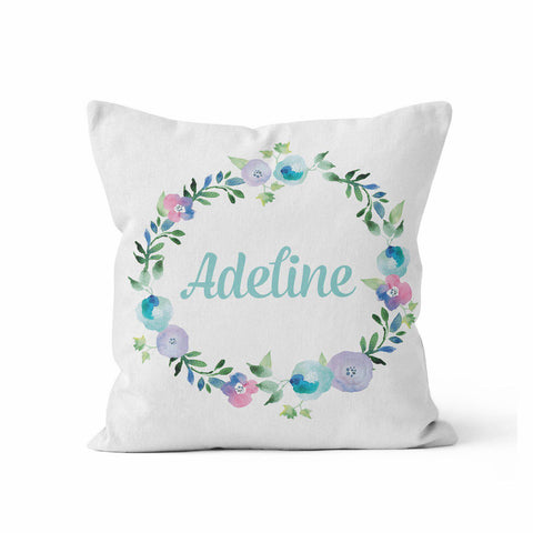 Nursery Pillow Cover, Blue Floral Wreath by Kalilaine