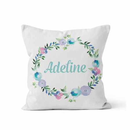 Personalized Throw Pillow, Blue Floral Wreath by Ziya Blue