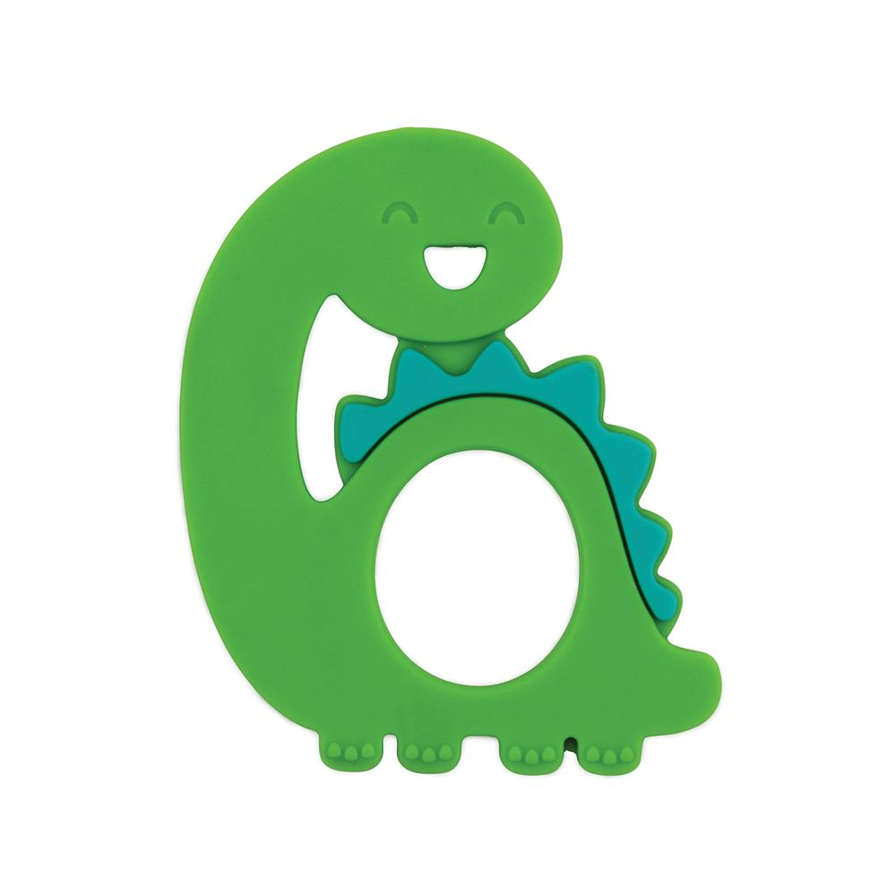 Silicone Teether - Dino, Teether, [Ziya Blue]