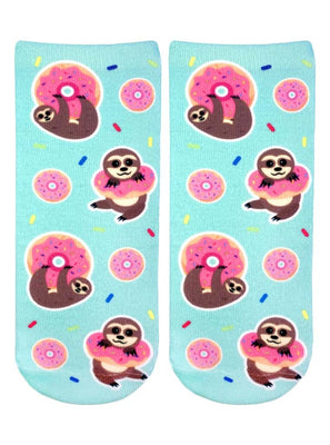SLOTH DONUT ANKLE, socks, [Ziya Blue]