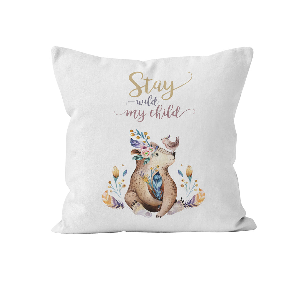 Throw Pillow, Stay Wild My Child by Ziya Blue