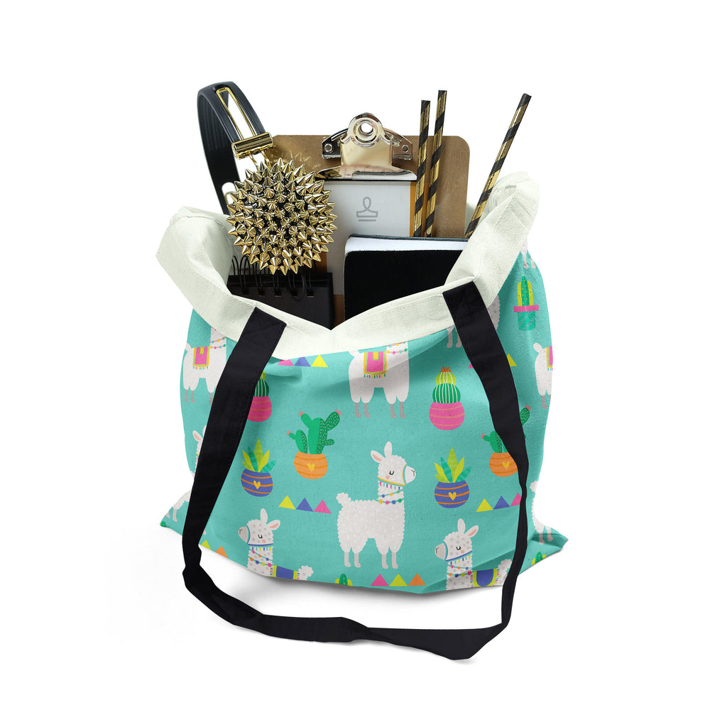 Fun Llama & Cactus Tote, MADE TO ORDER, Tote, [Ziya Blue]