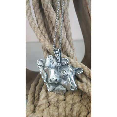 Double Cow Head Pewter Necklace