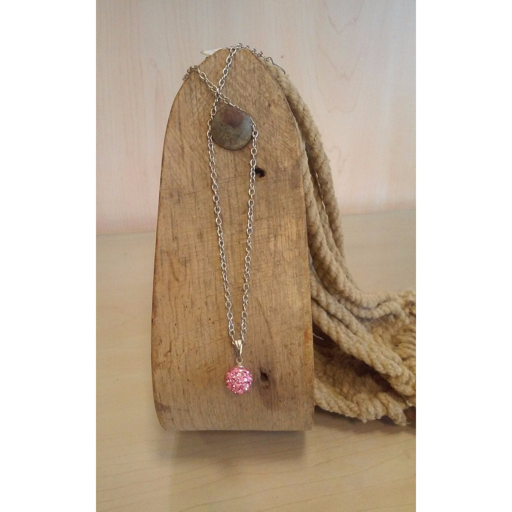 Disco Ball Necklace - Pink - Oak Spring Bling