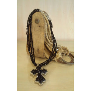Cross -Black Multi Strand Beaded Set - Oak Spring Bling