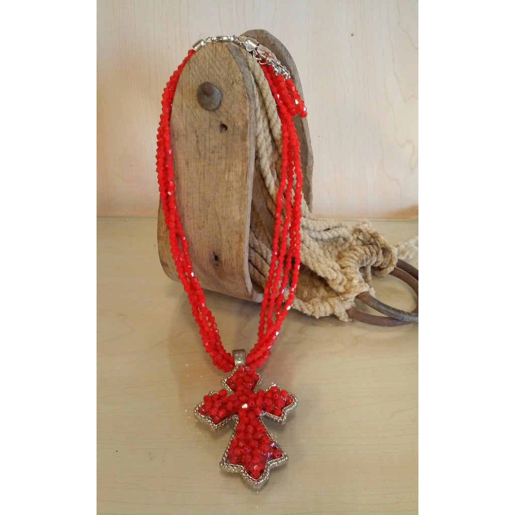 Cross - Red Multi Strand Beaded Set - Oak Spring Bling