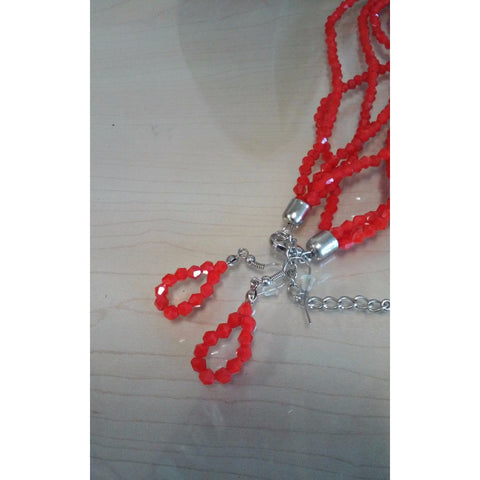 Cross - Red Multi Strand Beaded Set