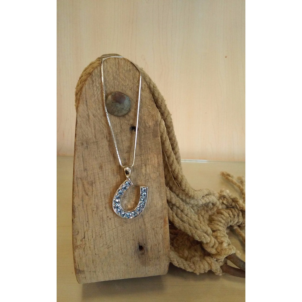 Horseshoe Necklace -Medium, Light Sapphire Rhinestones - Oak Spring Bling
